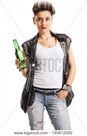 Punk girl holding a bottle of beer isolated on white background
