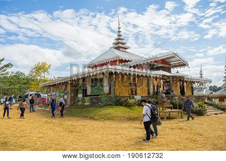 Mae Hong Son, Thailand - JAN 2, 2017: Many people at Su Tong Pe place of worship in Mae Hong Son province Thailand.