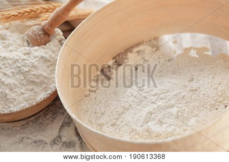 Big sieve with flour, close up