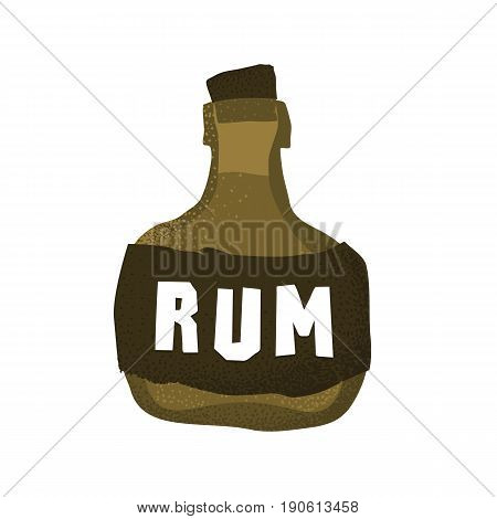 Cartoon style grunge pirate rum bottle isolated vector illustration