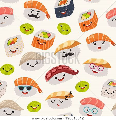 Sushi emoji seamless pattern cartoon style. Emoticon kawaii character. Hand draw cute japanese food objects. Wallpaper with facial food icon. Colorful vector backdrop