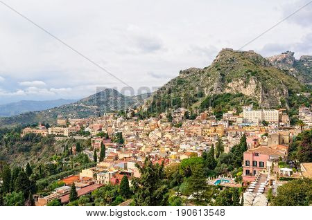 Old town photographed from Teatro Greco - Taormina Sicily Italy