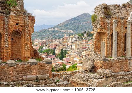 Old town as seen from the stands of Teatro Greco - Taormina Sicily Italy