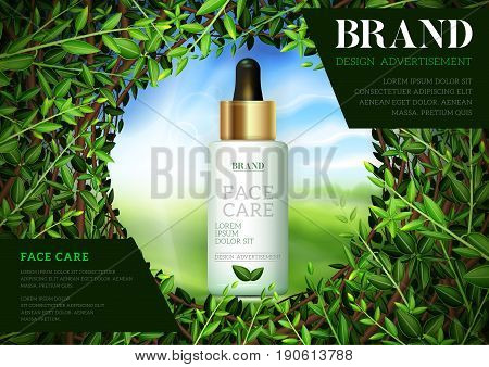 Cosmetic ads template Moisture essence based Green tea. Skin care cosmetic essence Vector illustration for cosmetic ads or magazine.