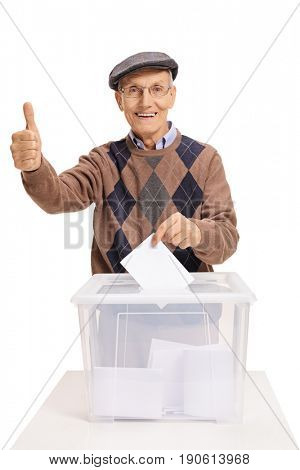 Senior voting and making a thumb up gesture isolated on white background
