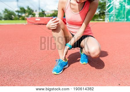 Woman suffer from ankle sprain