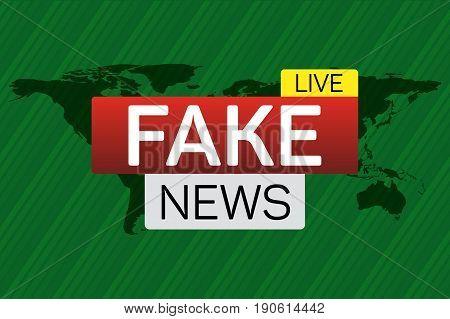 Fake news live banner on worldmap. Business technology world news background. Vector Illustration.