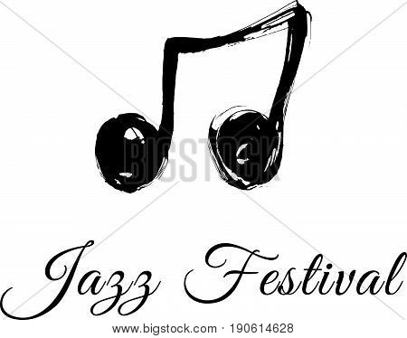 Music jazz festival logo. Music festival logotype..Hand drawn vector illustration