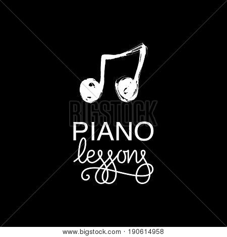 Piano lessons logo. Hand drawn vector illustration.