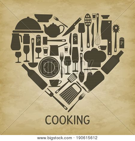 Kitchenware heart shape-vector illustration. Background brown grunge. Plates cups forks, knives spoons, grater rolling pin, wine glasses bottle, kettle, chefs hat, salt shaker, pepper pot, ladle.