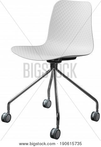 white color plastic chair with chrome legs, modern designer. Swivel chair isolated on white background. furniture and interior.