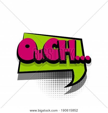 Funny OUCH comic book letters cartoon text dialog colored cloud. For sale banner. Abstract creative hand drawn vector exclusive font bubble. Speech balloon on halftone dot background pop art style