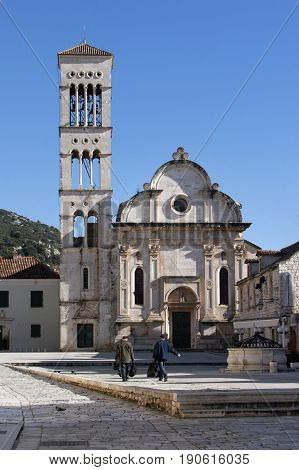 Cathedral of St. Stephen on the eastern side of the town square in Hvar Croatia