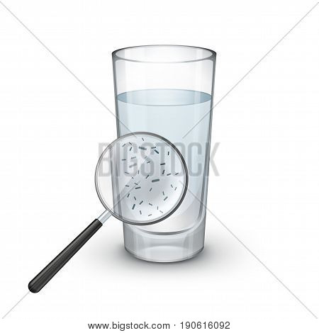 Vector glass of water with magnifier and microscopic bacteria on white background