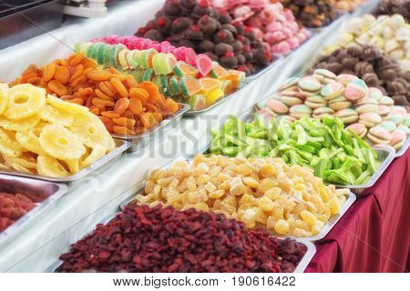 Stand with tasty chewy jelly beans. Colorful street food with sweet tasty delicious candies in Budapest, Hungary.