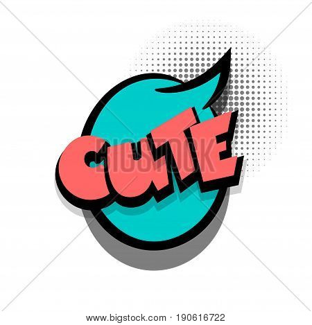 Funny CUTE nice comic book letters cartoon text dialog colored cloud. Sale banner. Abstract creative hand drawn vector exclusive font bubble. Speech balloon halftone dot background pop art style