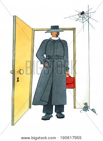 A man in a hat and a gray mackintosh with a red briefcase in his hand is standing in the doorway. The gray mouse sits near the hole in the floor. A spider in a web in the corner of the room.