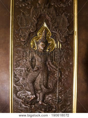 buddha wooden door Udon Thani temple  thailand