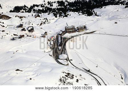 Kleine Scheidegg Switzerland Swiss Alps Winter Sports Skiing Mountains Aerial View Photography