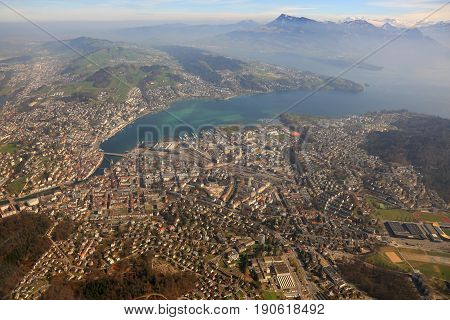 Lucerne Alps Panorama Overview Mountains Luzern Switzerland Town City Aerial View Photography