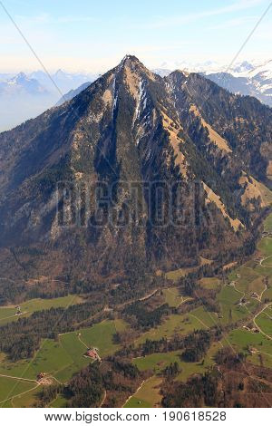 Stanserhorn Mountain Switzerland Swiss Alps Mountains Upright Format Aerial View Photography