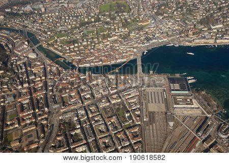 Lucerne Chapel Bridge Main Station Lake Luzern Switzerland Town City Aerial View Photography