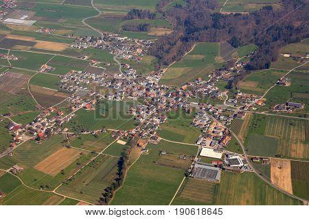 Aesch Canton Lucerne Luzern Switzerland Aerial View Photography