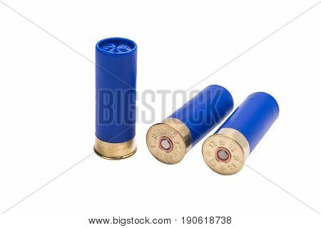 Three blue patrons on a white background