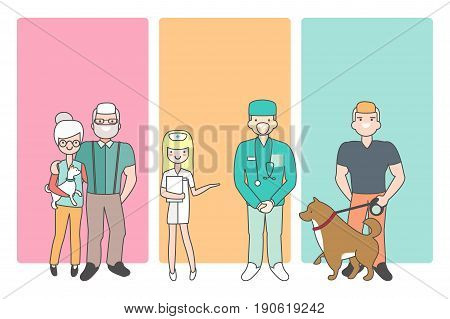 Cartoon people characters bring pets in veterinary clinic for vet examination. Vector illustration in linear style design. Animal doctor and nurse. Customers with dogs