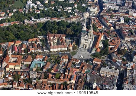 Zagreb city centre with Dolac market cathedral archbishop house Kaptol