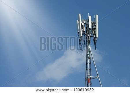 Tower Antenna and Radio transmitters for communication or Internet transmission.