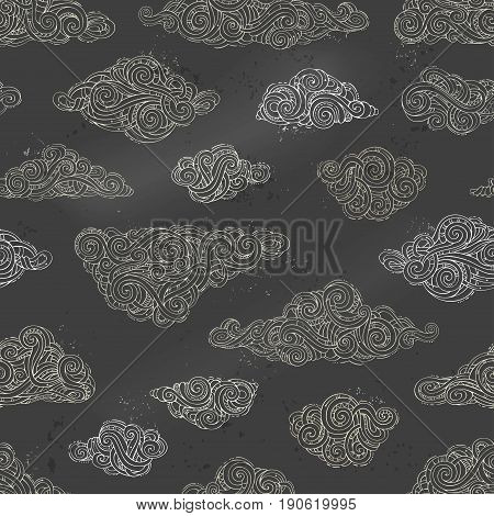 Vector Seamless Chalk Clouds Pattern.