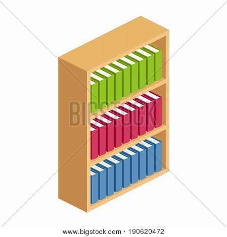 Bookshelves.hardwood bookcase with three shelves in isometric, shelving with colorful books in flat style, archive of books standing on shelves vector illustration isolated on white background