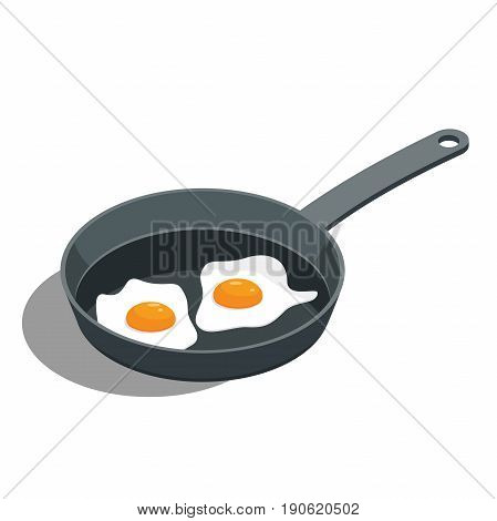 broken fried egg on a frying pan vector illustration isolated from background.Traditional breakfast food illustration.