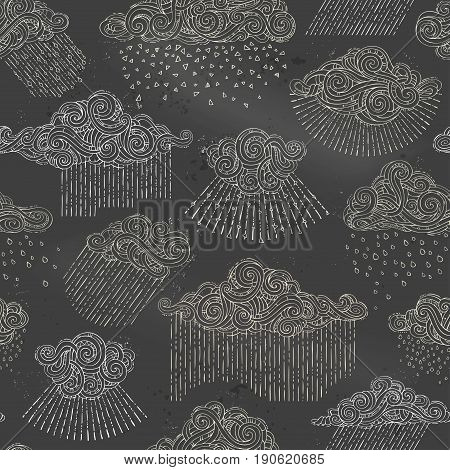 Vector Seamless Chalk Pattern Of Rain Clouds.