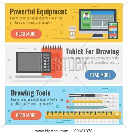 Vector horizontal three banners for designer tools in flat style with button. Powerful digital equipment, tablet for hand drawing and pen, liners, pencils on colored backgrounds