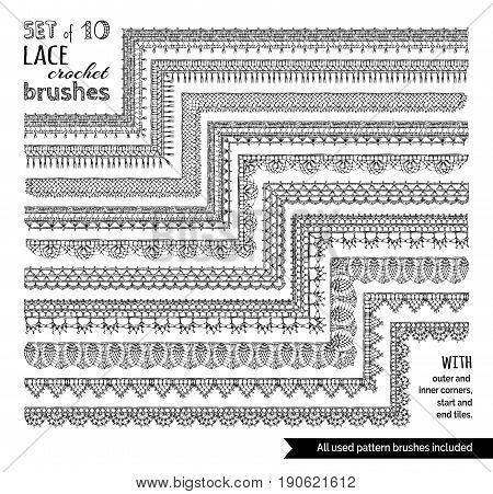 Vector Set Of 10 Doodles Lace Knitting Seamless Brushes.