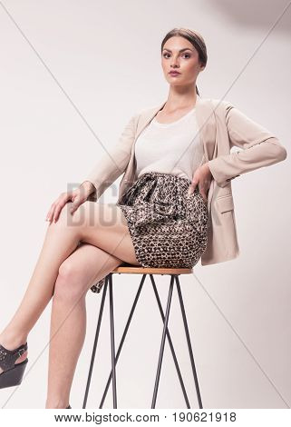 One Young Caucasian Woman, 20S 20-29 Years, Fashion Model, Studio, White Background, High Heel Shoes