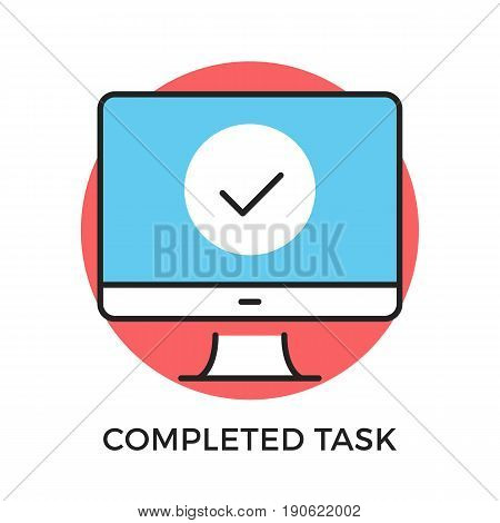 Completed task icon. Computer with checkmark on screen. Modern flat design thin line concepts and elements. Vector icon isolated on white background