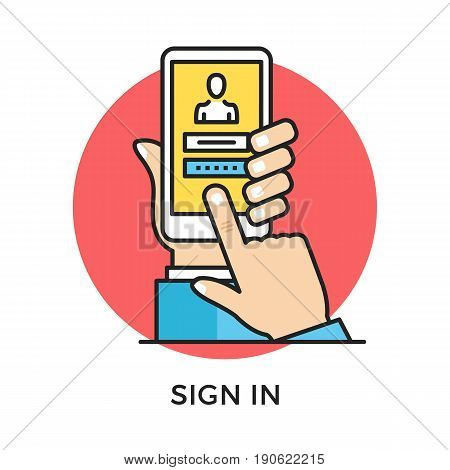Sign in icon. Hand holding smartphone with login page and login and password registration form, finger touching screen. Modern flat design thin line concept. Vector icon isolated on white background