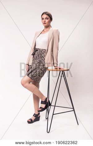 One Young Caucasian Woman, 20S, 20-29 Years, Fashion Model, Studio, White Background, High Heel Shoe