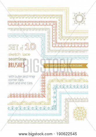 Vector Set Of 10 Sketch Lace Crochet Seamless Brushes.