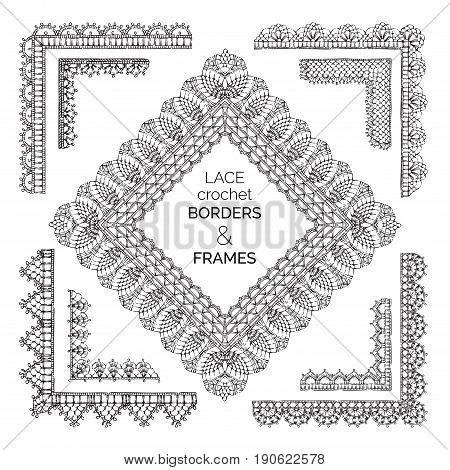 Vector Set Of Lace Crochet Borders And Frames.