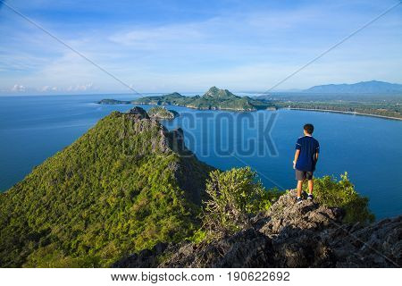 Amazing summer landscape with mountains sea blue sky sun and beautifulViewpoint Prachuap Bay.