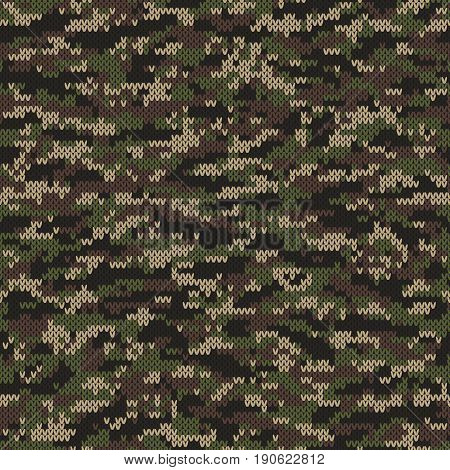 Abstract Knitting Pattern in Camouflage Desert Style. Seamless Vector Background