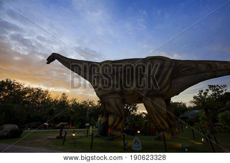 -20 September 2016 At the Dinosaur park Dannok Sadao District Songkhla in Thailand opening hours 10.00 am. - 10.00 pm. In the evening have the blue sky and the light make it beautiful.