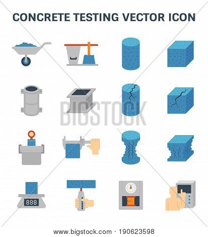 Vector icon of concrete strength testing and laboratory for construction quality conctrol.