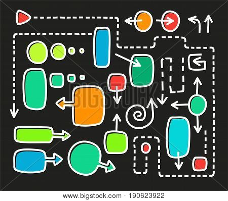 Colored frame and arrows, white outline, black background, vector. Colored frames for white text and the dashed arrows of different shapes. White, thin outline for the framework is shifted to the side. Blanks and templates for information graphics and dia