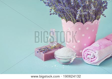 wellness products - candle, lavender and sea salt