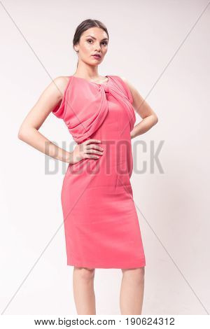 One Young Caucasian Woman 20S, 20-29 Years, Fashion Model Posing Standing, Studio, White Background,